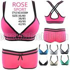 Cross Strap Back Sport Padded Bra Sets Trunks Knickers Shorts 36/38/40/42 B52