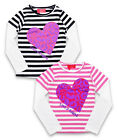 Girls Funky Diva Glitter Heart Stripe Long Sleeve Skater Style Top 3 to 8 Years