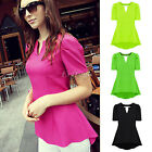Womens Ladies Chiffon V Neck Asymmetrical Hem Short Sleeve Blouse Tops T Shirt