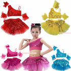 Bling Sparkle Sequins Ruffle Top Kids Girl Ballet Dance Tutu Skirt Costume 1-8Y