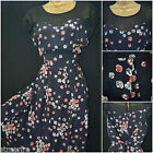 NEW PLUS SIZE RETRO TEA DRESS NAVY BLACK RED WHITE DITSY FLORAL PRINT 16 - 28