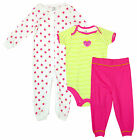 Girls Strawberry 3 Piece Sleepsuit Bodysuit Bottoms Newborn Baby to 24 Months