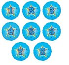 """18"""" Blue Holographic Stars Foil Balloon 