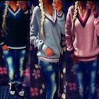 Ladies Casual Jumper V Neck Long Sleeve Pullover Tops  Knitted Sweater Winter