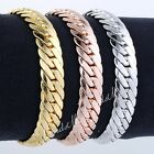 10MM Mens Chain Boy Closed Curb Link  Rose/Yellow/White Gold Filled GF Bracelet