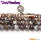 Natural Round Facted Botswana Agate Beads For Jewelry Making 15'' 4mm 8mm 10mm
