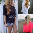 Sexy Women Long Sleeve Cotton OFF-Shoulder T-Shirt Casual Loose Tops Blouse