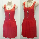 CUTE TOPSHOP RED JERSEY PINAFORE DUNGAREE SKATER MINI DRESS CELEBRITY SALE PRICE