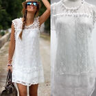 Sexy Women Lace Party Evening Summer Ladies Dress Short Mini Dress Tops White