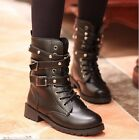 Women Military Combat Boot Riding Motorcycle Lace-up Buckle Zipper Shoes Martin