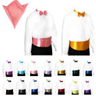 Mens Wedding Tuxedo Bow tie Cummerbund Hanky set 30 Colors