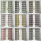 BALMORAL TARTAN CHECK LINED EYELET CURTAINS COTTON GREY NATURAL PLUM RED TEAL
