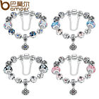 Variety Color DIY European Silver Bracelet With Flower Charms For Women Jewelry