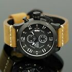 INFANTRY Mens Wrist Watch Aviator Quartz Leather Army Flyback Chrono Waterproof