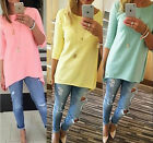 Fashion Women 3/4 Sleeve Long Tops Blouse Shirt Casual BOHO Mini Dress Classic