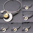I Love You To The Moon & Back Silver & Gold Crystal Family Bracelet Heart Gift