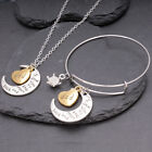 I Love You To The Moon & Back Necklace Pendant & Bracelet Set Family For Women