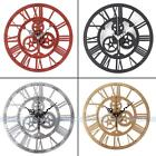 Creative Retro Gear Wall Clock European Antique Roman Time Mute Wall Art Clocks