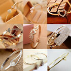 Women Fashion Jewelry Gift Gold Silver Rhinestone Crystal Bangle Cuff Bracelet