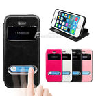 Swipe View Window Flip Leather Stand Case Cover for Apple iPhone 5S 5