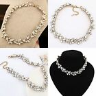Women's Charm Crystal Flower Pendant Statement Bib Chunky Choker Necklace