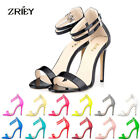 ZriEy WOMENS LADY HIGH HEELS ANKLE STRAP STILETTOS PARTY EVENING SANDALS SHOES