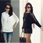 HOT Ladies Loose Batwing Dolman Lace Long Sleeve Casual Top T-Shirt Size M-XXL