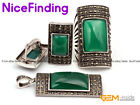 Blue Agate Jewerly Earrings Ring Pendant Set Antiqued Tibetan Silver Marcasite