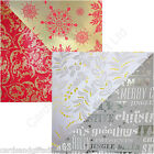 Pack of 2 Red & Gold Foil or Silver Christmas 4m Roll Wrap Paper (8m total)