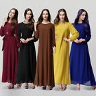 Lady Kaftan Abaya Jilbab Islamic Muslim Bow Women Long Sleeve Maxi Dress Comfy