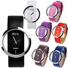 New Women's Transparent Dial Leather Band Analog Quartz Wrist Watch Watches