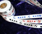 FOOTBALL RIBBON party cake craft 25mm X 3 5 10 or 50M RED BLUE BLACK  P&P offer