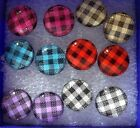 NWT WOMENS OR GIRLS PLAID resin & stainless steel EARRINGS with gift box E-25