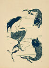 Mythical Mermaid Siren Creature with Fish Ocean Vintage Poster Repro FREE S/H