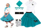 Hip Hop 50s Shop Girls 6 pc Poodle Skirt Outfit Halloween or Dance Costume Set