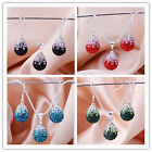 4 Colors Fashion 925Sterling Silver Swarovs Crystal Women Necklace Earrings Set