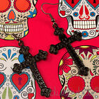 FUNKY CARVED CROSS EARRINGS RELIGIOUS PUNK GOTH GIRL EMO HALLOWEEN ROCK CHICK UK