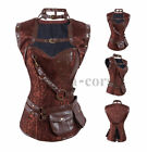 Brown Women Retro Brocade Steampunk Costume Overbust Corset with Jacket&Belt