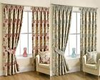 LILY FLORAL LINED CURTAINS READY MADE TAPE TOP CURTAIN PAIRS NATURAL AQUA CHINTZ