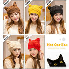 Women Winter Beanie Devil Horns Cat Ear Crochet Braided Knit Ski Wool Cap Hat YS