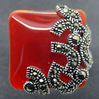 Fashion jewelry Marcasite Red Jade 925 Sterling Silver Ring Size Us 7/8/9/10