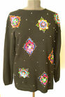 Victoria Jones Christmas Sweater Tunic Sequin Beads Holiday Cruise Geometric Med $24.95 USD