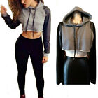 Women Fashion Slim Cropped Hoodie Long Sleeve Patchwork Casual Pullover Tops