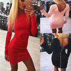 NEW women Long Sleeve Bodycon Cocktail Casual backless zipper Party dress