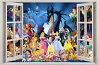 Disney Characters Princess 3D Window View Decal WALL STICKER Decor Art Mural H63