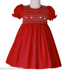 Amelia Red Holiday Classic Hand Smocked Baby Toddler Girls Christmas Dress 17964