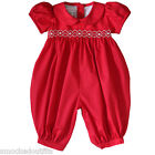 Abigail Red Christmas Hand Smocked Baby Girls Long Bubble Romper Overalls 17963