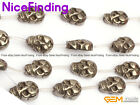 """13x18mm Natural Silver Gray Pyrite Carved Skull Stone Beads For Paracord 15"""" DIY"""