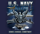 US Navy USN Honor Courage Committment BLUE Adult T-shirt