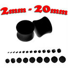 BLACK SOLID EAR PLUG 2MM - 20MM DOUBLE FLARED BODY PIERCING EAR SADDLE S57